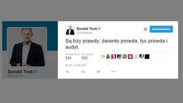 """11-05-2016 19:21 Donald Tusk o trzech rodzajach prawd. Na Twitterze skomentował """"audyt"""""""