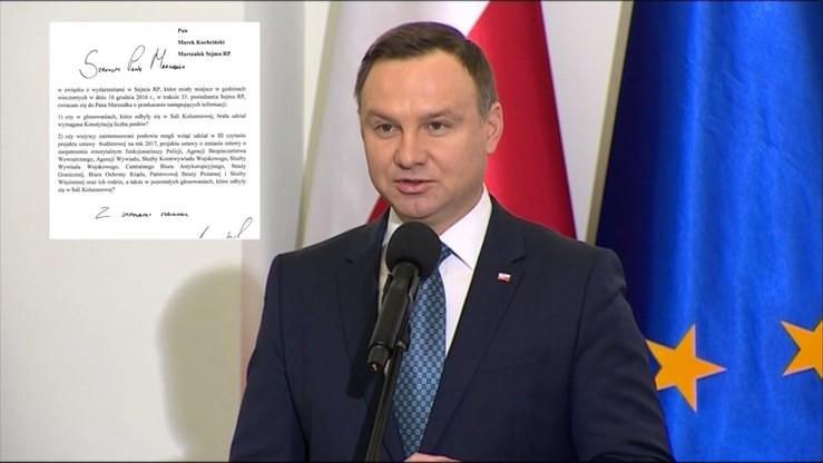 Pismo prezydenta do marszałka Sejmu ws. piątkowych głosowań w Sejmie