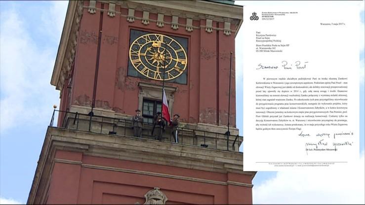 """""""W maju przyszłego roku Wieża Zegarowa będzie godnym tłem"""". Dyrektor Zamku Królewskiego odpowiedział Pawłowicz"""