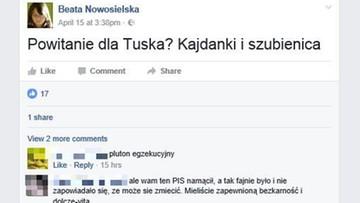 """20-04-2017 10:07 """"Powitanie dla Tuska? Kajdanki i szubienica"""". Ministerstwo  środowiska """"odcina"""" się od poglądów swojej urzędniczki"""