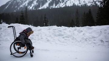 Turyści bili się o sanie. 5-letni Arek nad Morskie Oko dojechał sam. Na wózku inwalidzkim