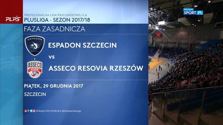 Espadon Szczecin - Asseco Resovia 0:3. Skrót meczu