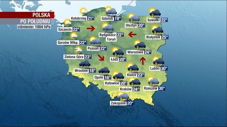 Ulewy, grad i burze - meteorolodzy ostrzegają