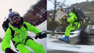 Zapiął narty, uruchomił odrzutowy plecak i ruszył przez miasto