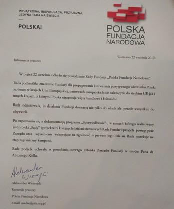 Pod oświadczeniem dla prasy podpisał się rzecznik prasowy PFN Aleksander Wierzejski.