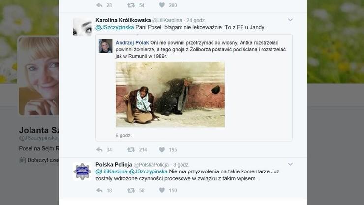 """""""Antka rozstrzelać. Gnoja z Żoliborza pod ścianę"""". Policja poszukuje autora wpisu tej treści"""