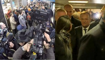 Donald Tusk w Warszawie. Na dworcu tłum manifestantów