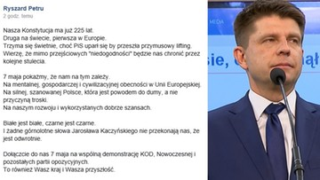 """03-05-2016 15:16 """"Nasza konstytucja ma już 225 lat"""". Internauci: Ryszard Petru pomylił ustawy zasadnicze"""