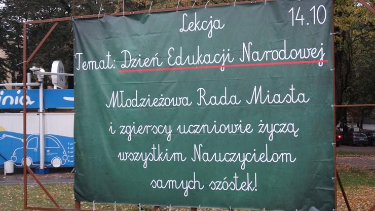 Baner dla nauczycieli od uczniów ze Zgierza
