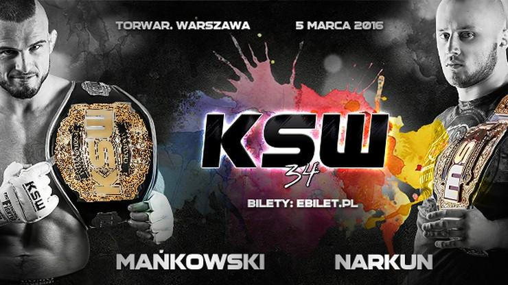 KSW 34 już 5 marca w Warszawie! Mańkowski i Narkun bronią tytułów
