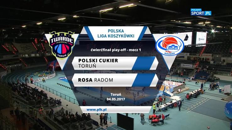 Polski Cukier Toruń - Rosa Radom 105:98 (po dogrywce). Skrót meczu