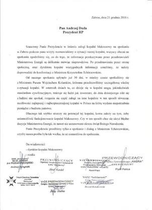 Listy związkowców z kopalni Makoszowy z prezydenta i premier