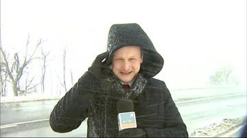 Reporter Polsat News kontra powrót zimy