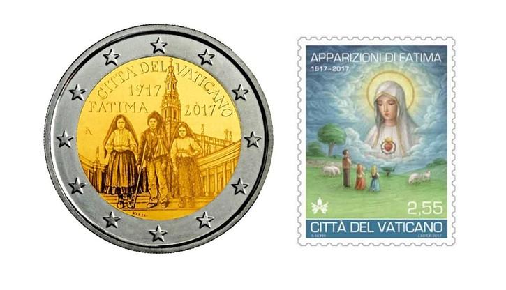 Znaczek i moneta na setną rocznicę objawień w Fatimie