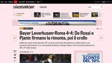 2015-10-21 La Gazzetta dello Sport: Szczęsny nie został bohaterem