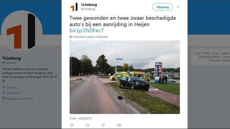 W Holandii zderzyły się dwa samochody. Jeden z Polski, drugi z Niemiec. Polak uciekł