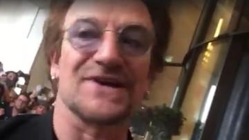 """""""To wielki człowiek"""". Bono pozdrowił Lecha Wałęsę i powiedział, że kocha Polskę"""