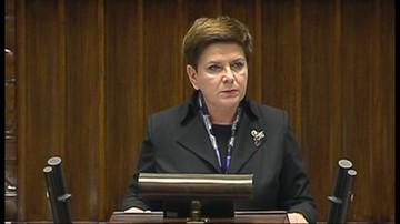 Premier Beata Szydło odpowiadała w Sejmie na pytania zadane w debacie nad expose