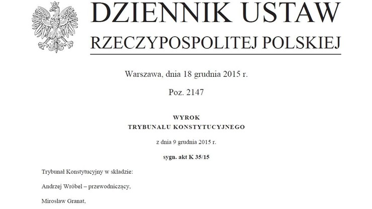 Wyrok TK z 9 grudnia opublikowany w Dzienniku Ustaw