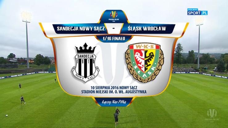 Sandecja Nowy Sącz - Śląsk Wrocław 1:2. Skrót meczu Pucharu Polski