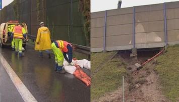 Woda podmyła nasyp na A4. Utrudnienia w kierunku Katowic