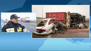 Dariusz Krysiński ze straży pożarnej o przyczynach wypadku na A1