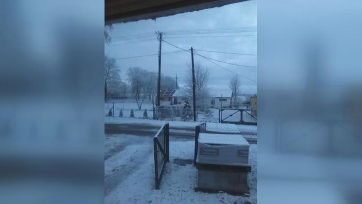 2016-11-08 Zima przyszła niespodziewanie na Wybrzeże. W okolicach Ustki mieszkańców poranek przywitał na biało