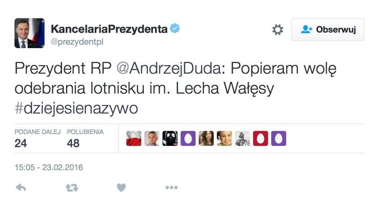 Wpadka Kancelarii Prezydenta ws. odebrania nazwy lotnisku im. Wałęsy - tweet pojawił się i zniknął