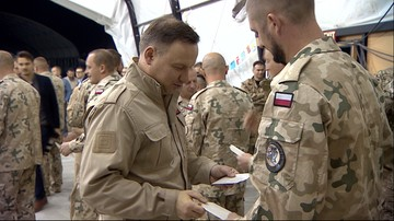 Prezydent z opłatkiem u żołnierzy polskiego kontyngentu w Kuwejcie