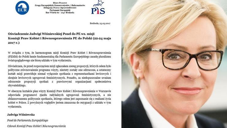 """Europosłanka PiS zrezygnowała z misji Komisji Praw Kobiet PE w Polsce, bo delegacja """"łamie zasadę pluralizmu"""""""
