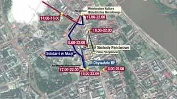 Manifestacje w Warszawie w rocznicę katastrofy smoleńskiej