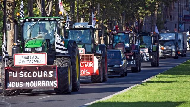 Francja: protest rolników, traktory na ulicach Paryża