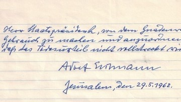 27-01-2016 23:13 Izrael ujawnił ostatni list Eichmanna: prosił o łaskę