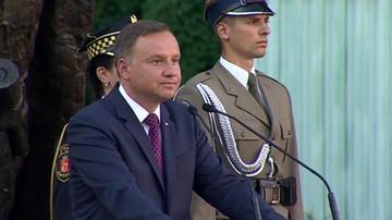 Prezydent Duda przed Pomnikiem Powstania Warszawskiego