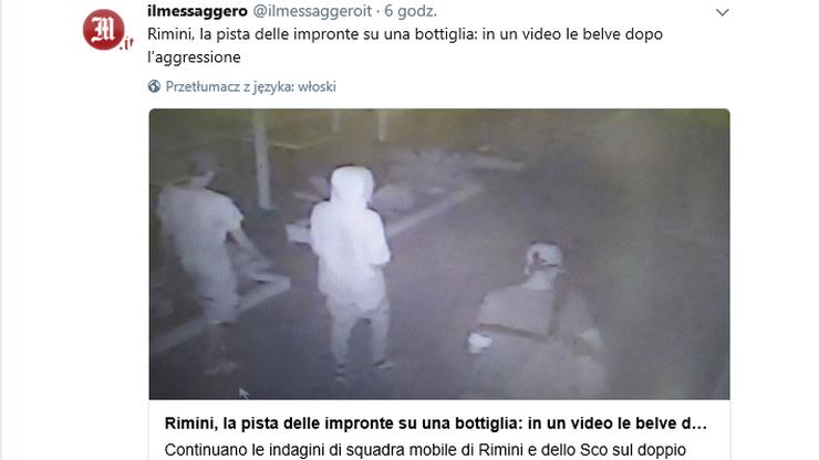 Kamery monitoringu nagrały sprawców napadu w Rimini. Włoskie media publikują ich wizerunek
