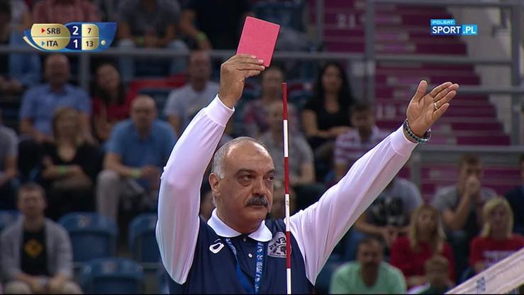 Czerwona kartka dla Jovovicia. Trener Serbów zwymyslał sędziego