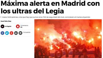 """17-10-2016 09:13 """"Sieją terror"""". Hiszpańskie media przestrzegają przed kibicami Legii"""