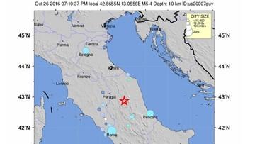 26-10-2016 22:30 Silne trzęsienie ziemi w środkowej części Włoch