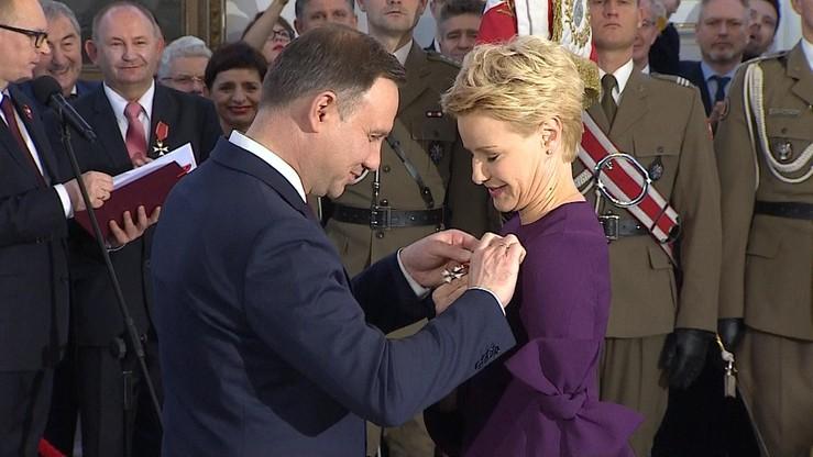 Odznaczenie z rąk głowy państwa odebrała także aktorka Malgorzata Kożuchowska.