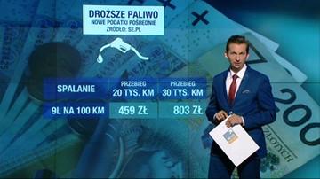 O ile więcej zapłacimy na stacjach benzynowych? Reporter Polsat News Michał Stela analizuje koszty nowej opłaty drogowej, którą chce wprowadzić PiS.