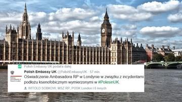 """27-06-2016 13:45 Ambasada RP w Londynie """"zaniepokojona ksenofobicznymi atakami na Polaków"""""""