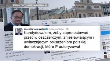 """12-03-2017 19:27 """"Kandydowałem, żeby zaprotestować"""". Seria wpisów Jacka Saryusz-Wolskiego na Twitterze"""