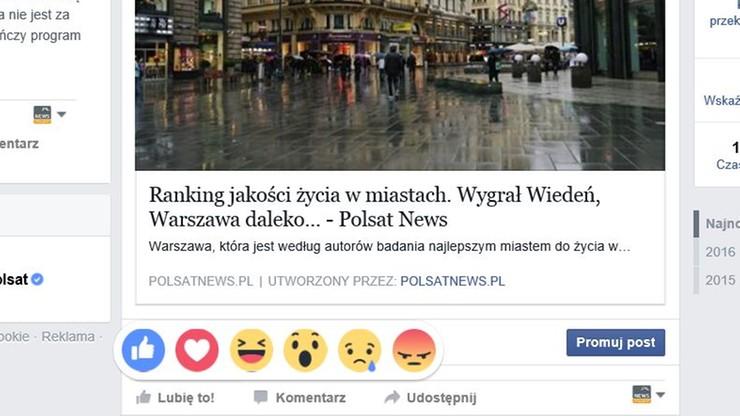 """Nowe przyciski na Facebooku. """"Wow"""", """"Przykro mi"""" i inne"""