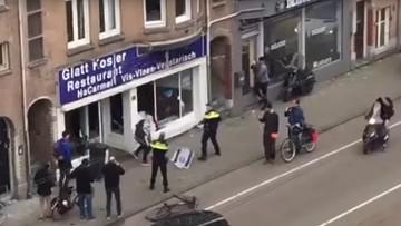 Mężczyzna z palestyńską flagą zaatakował restaurację żydowską w Amsterdamie