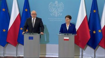 """24-05-2016 15:58 """"Zgodziliśmy się, że sprawę TK Polska musi rozwiązać sama"""" - Szydło po rozmowie z Timmermansem"""