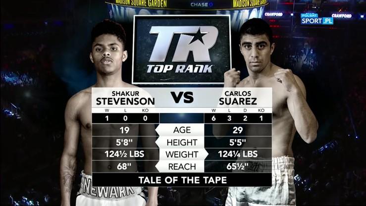 Shakur Stevenson wygrał przed czasem z Carlosem Suarezem