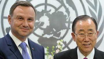 20-09-2016 05:24 Prezydent rozmawiał z Ban Ki Munem o kandydaturze Polski do RB ONZ