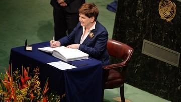 """22-04-2016 18:16 """"Znalazły się w nim postulaty, na których nam zależało"""". Premier Szydło podpisała porozumienie klimatyczne"""