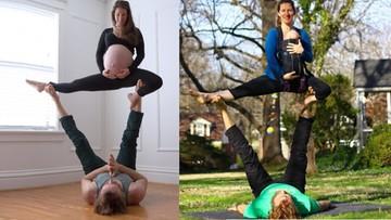 Joginka-akrobatka ćwiczyła w ciąży, ćwiczy z niemowlakiem