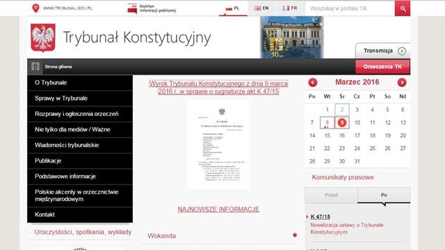 Wyrok TK opublikowany na stronie internetowej